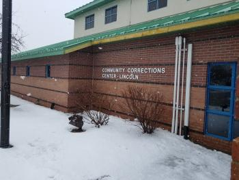 Entrance of CCC-L building in snow